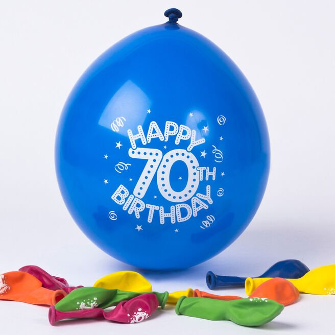 Multicoloured Age 70 Small Latex Balloons, Pack Of 10