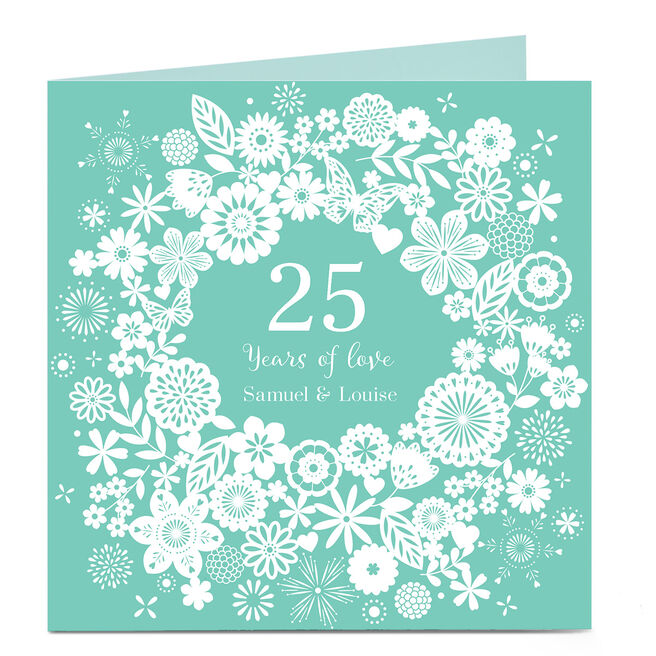 Personalised Anniversary Card - Blue Paper Cut Out