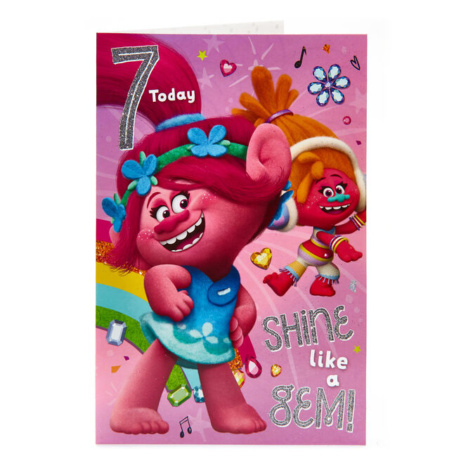 Trolls 7th Birthday Card
