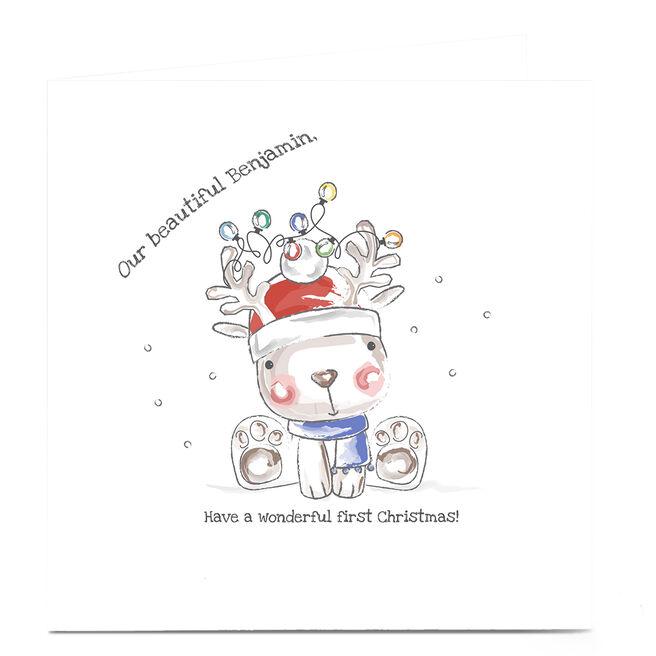 Personalised Rachel Griffin 1st Christmas Card - Rudolf Baby Boy