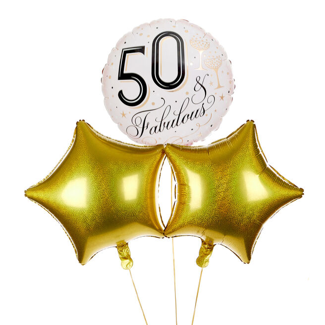 Fabulous 50th Birthday Balloon Bouquet - DELIVERED INFLATED!