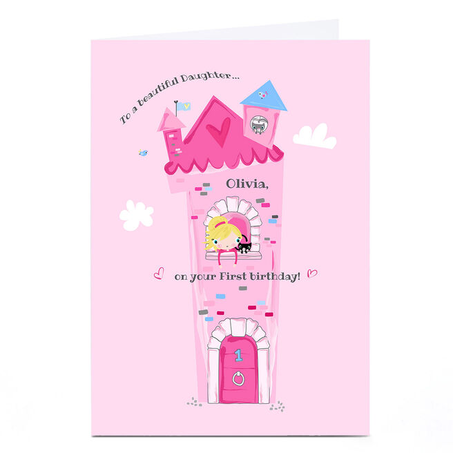 Personalised Rachel Griffin Birthday Card - Pink Princess Castle, With Name