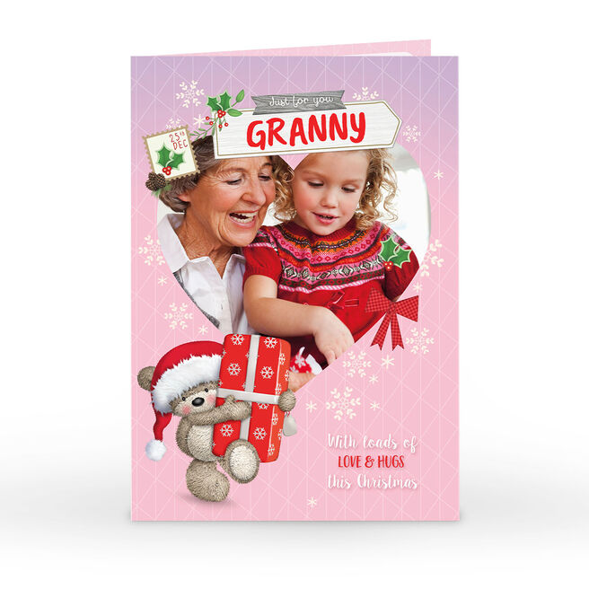 Photo Christmas Card - Hugs Bear Loads Of Love, Granny