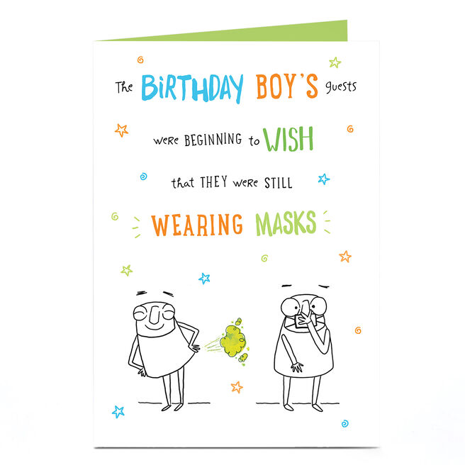 Personalised Covid Birthday Card - Wearing Masks