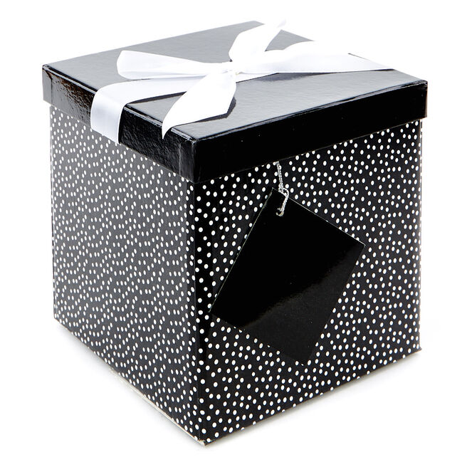 Medium Flat-Pack Gift Box - Black And White Polka Dots