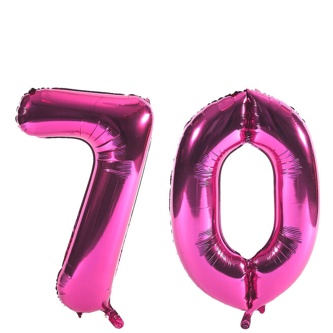 Age 70 Giant Foil Helium Numeral Balloons - Pink (deflated)
