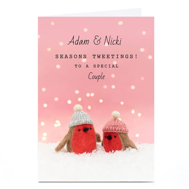 Personalised Lemon & Sugar Christmas Card - Robins