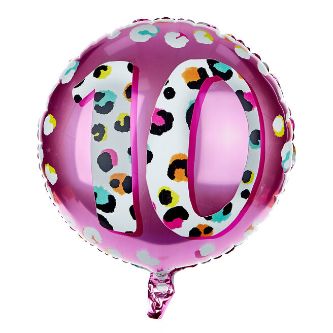 Leopard Print 10th Birthday 18-Inch Foil Helium Balloon