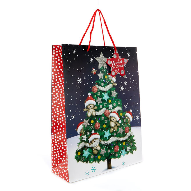 Large Portrait Hugs Winter Wishes Christmas Gift Bag