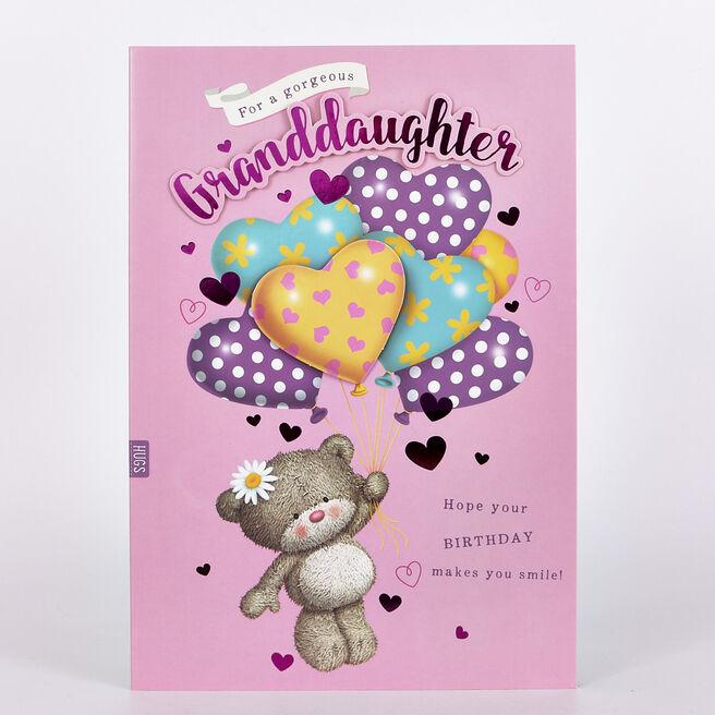 Hugs Bear Birthday Card - Granddaughter, Balloons