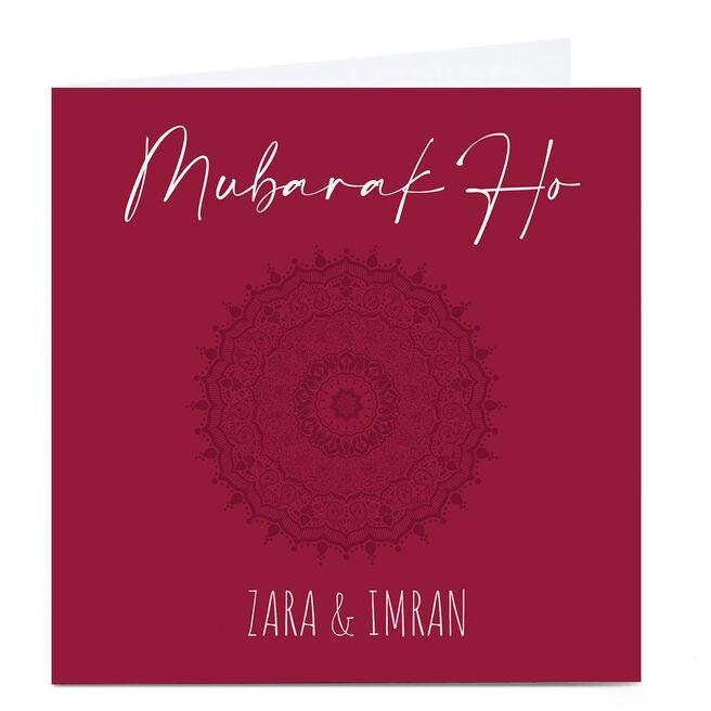 Personalised Roshah Designs Congratulations Card - Mubarak Ho