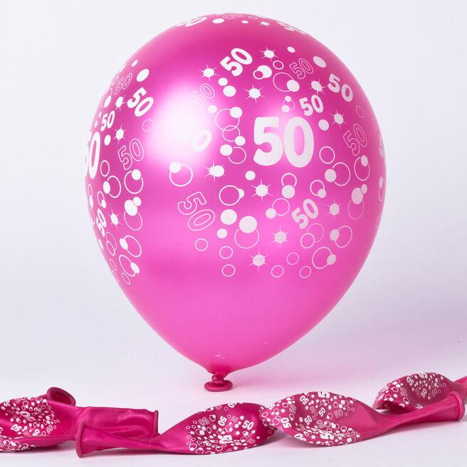 Metallic Pink Circles 50th Birthday Helium Latex Balloons - Pack Of 6