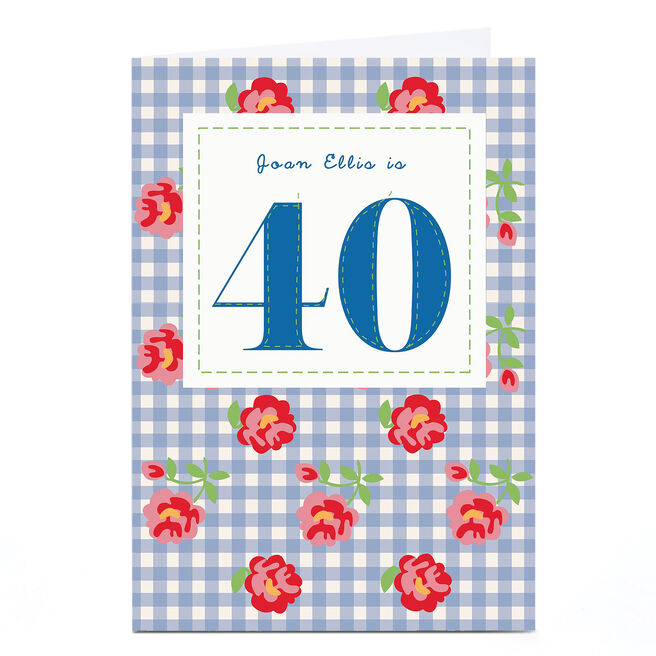 Personalised 40th Birthday Card - Roses & Gingham