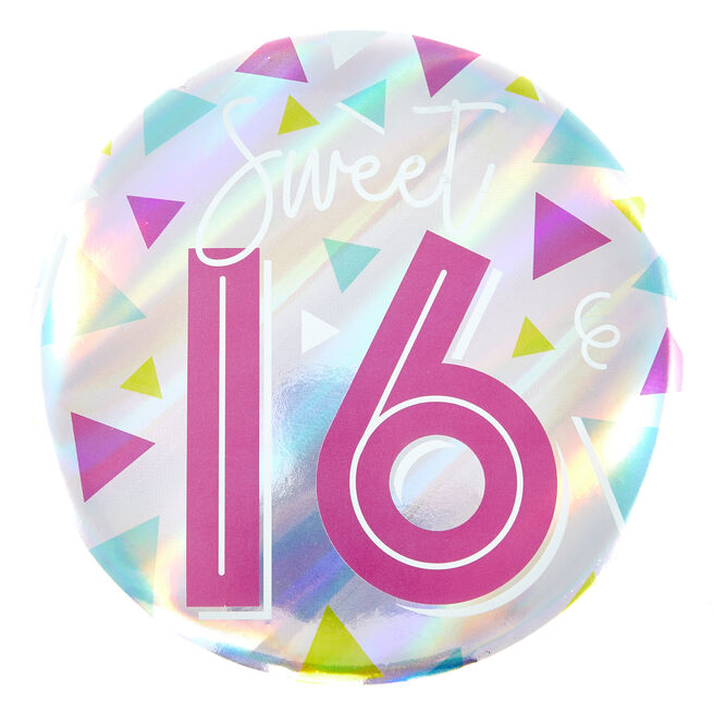 Giant 16th Birthday Badge - Pink