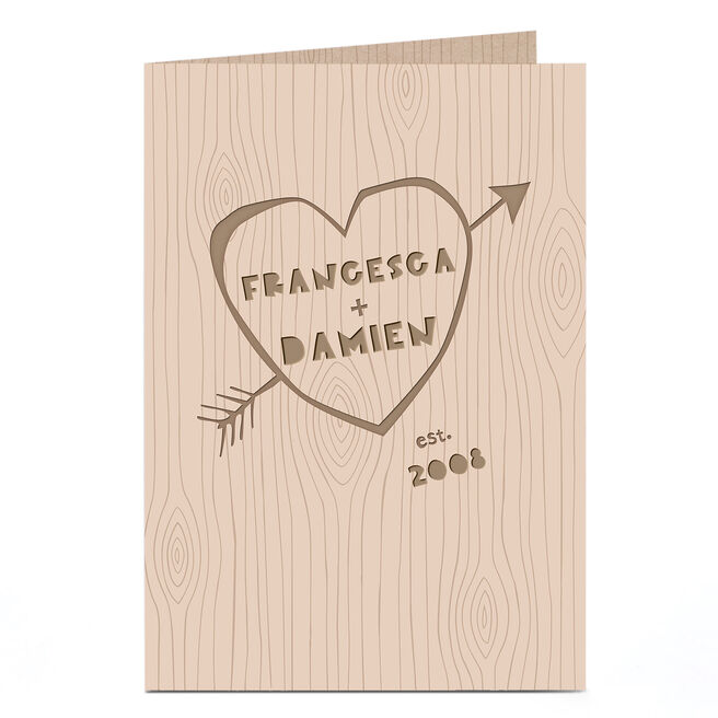 Personalised Card - Carved Love Heart