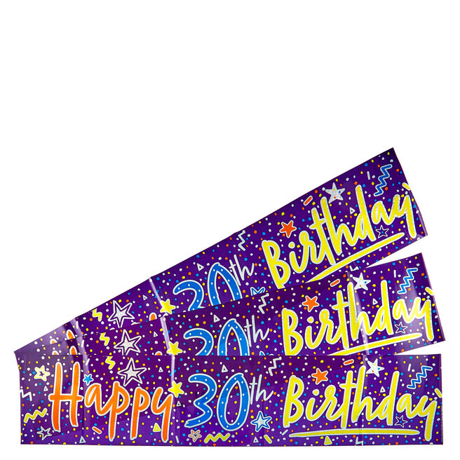 Holographic 30th Birthday Party Banners - Pack Of 3