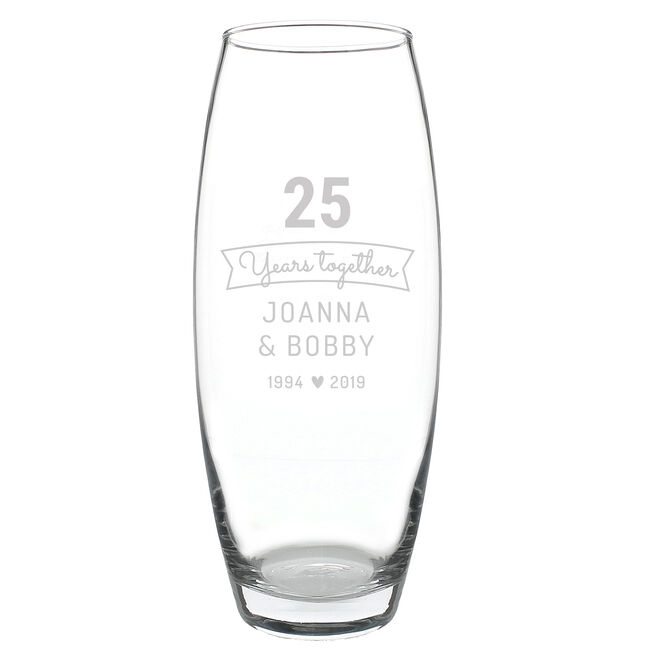 Personalised Anniversary Glass Vase - Years Together