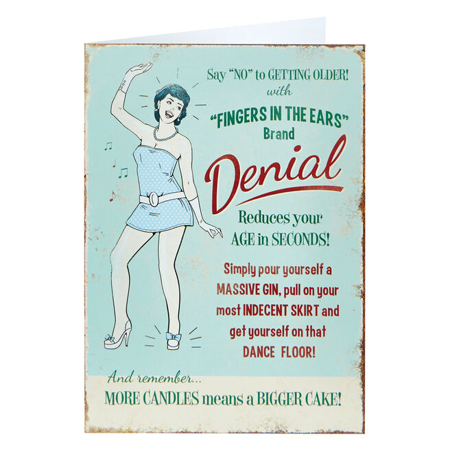 Birthday Card - Denial Reduces Your Age
