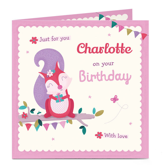 Personalised Birthday Card - Pink and Purple Squirrel