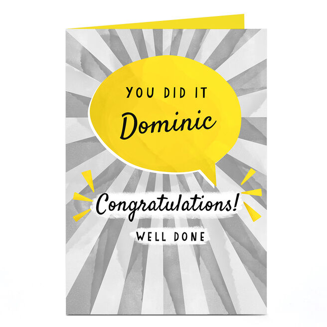 Personalised Congratulations Card - You Did It Well Done