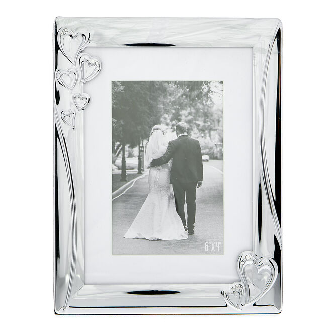 Happily Ever After Silver Love Hearts Photo Frame