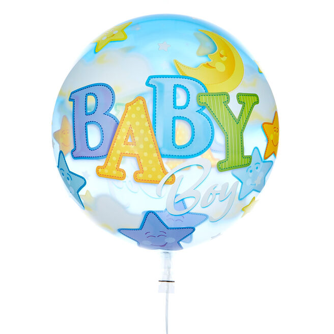 22-Inch Bubble Balloon - Baby Boy - DELIVERED INFLATED!