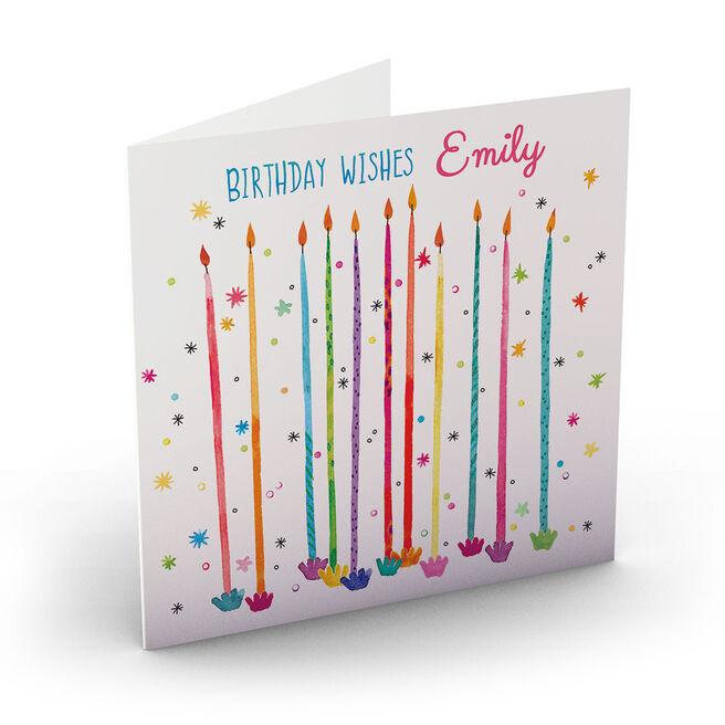 Personalised Nik Golesworthy Birthday Card - Colourful Candles