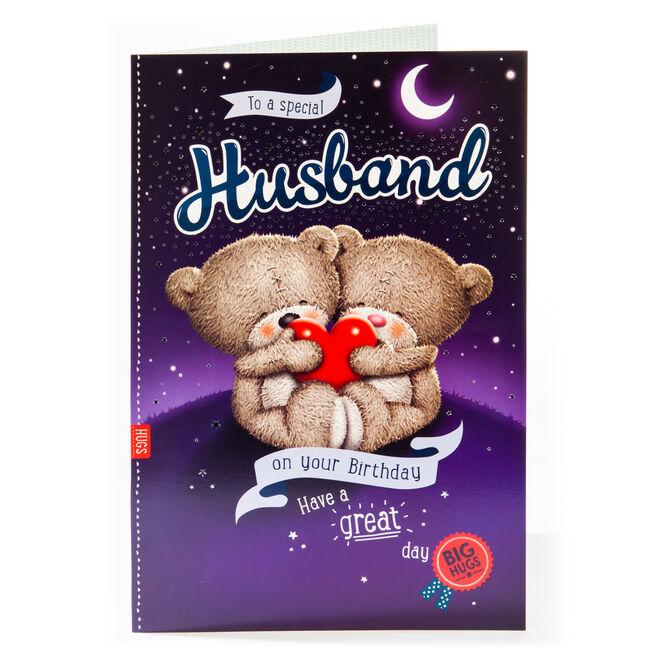 Giant Hugs Bear Birthday Card - Husband