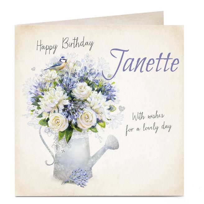 Personalised Birthday Card - Watering Can Flowers