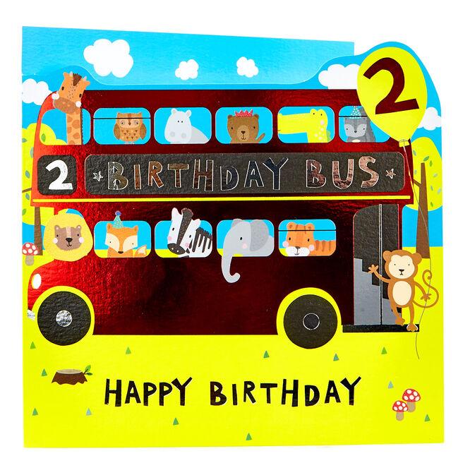 Platinum Collection 2nd Birthday Card - Birthday Bus