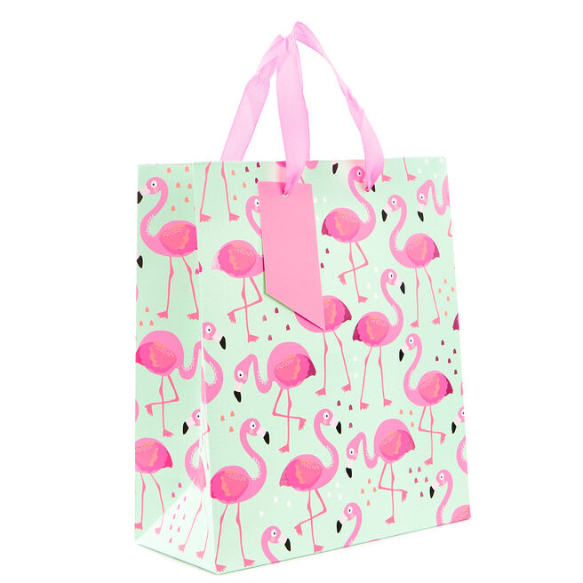 Small Mint & Pink Flamingo Gift Bag