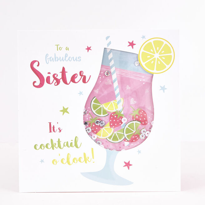 Boutique Collection Birthday Card - Sister, Cocktail