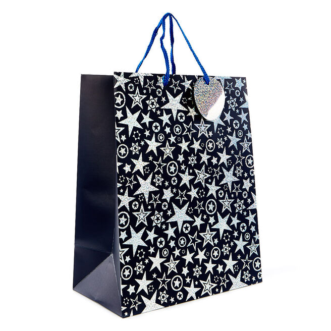 Medium Blue Holographic Star Gift Bag