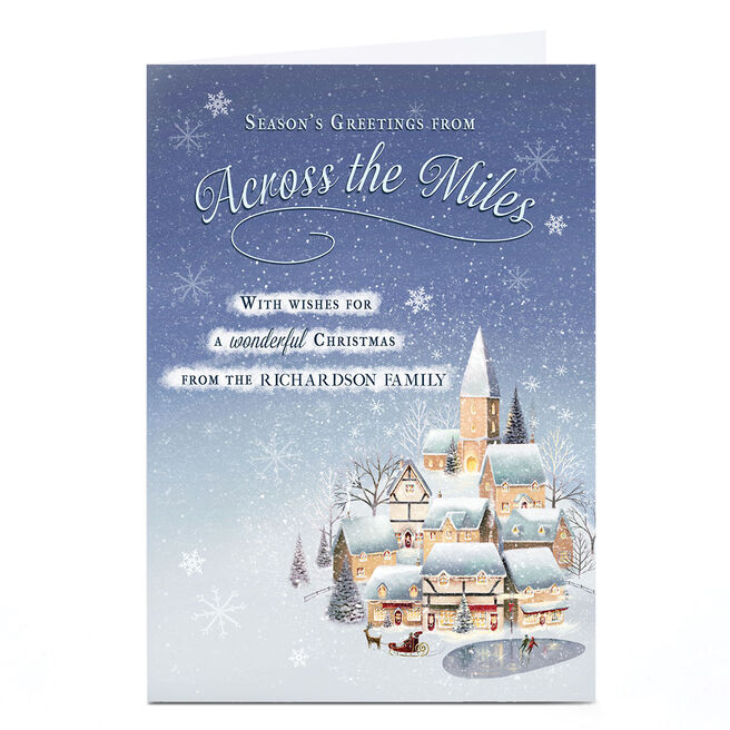 Personalised Christmas Card - Across The Miles With Wishes