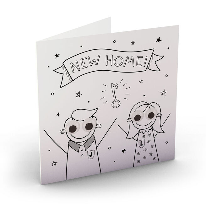Personalised New Home Card - Stick Couple