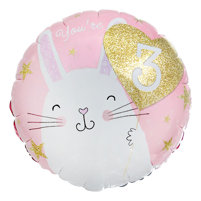 Bunny Rabbit 3rd Birthday 18-Inch Foil Balloon