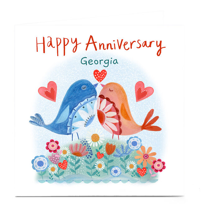 Personalised Lindsay Loves To Draw Anniversary Card - Birds
