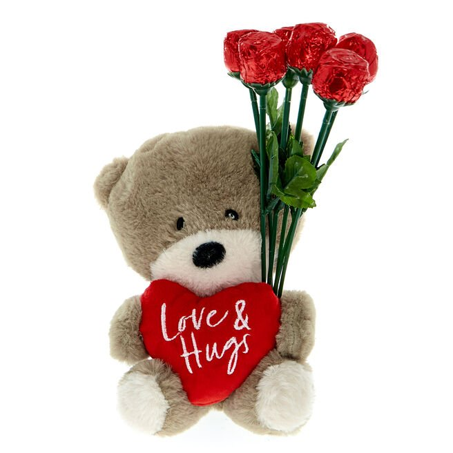 Hugs Bear Soft Toy & Chocolate Roses