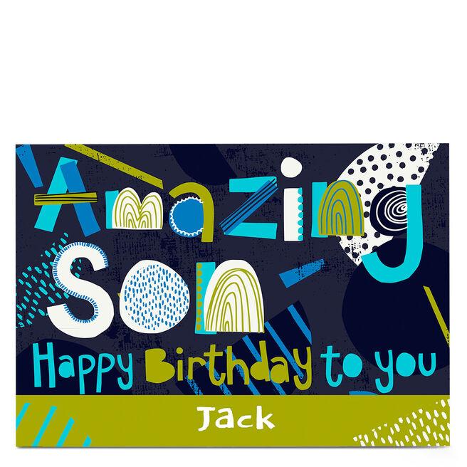 Personalised Bev Hopwood Birthday Card - Amazing Son