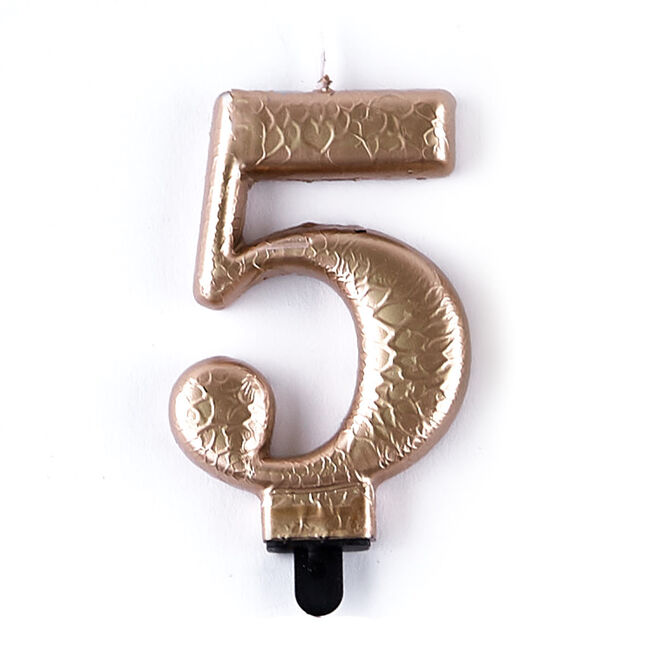 Gold Metallic Number 5 Birthday Candle