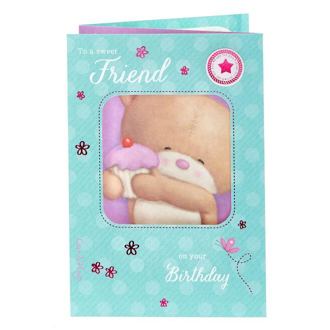 Hugs Bear Birthday Card - To A Sweet Friend
