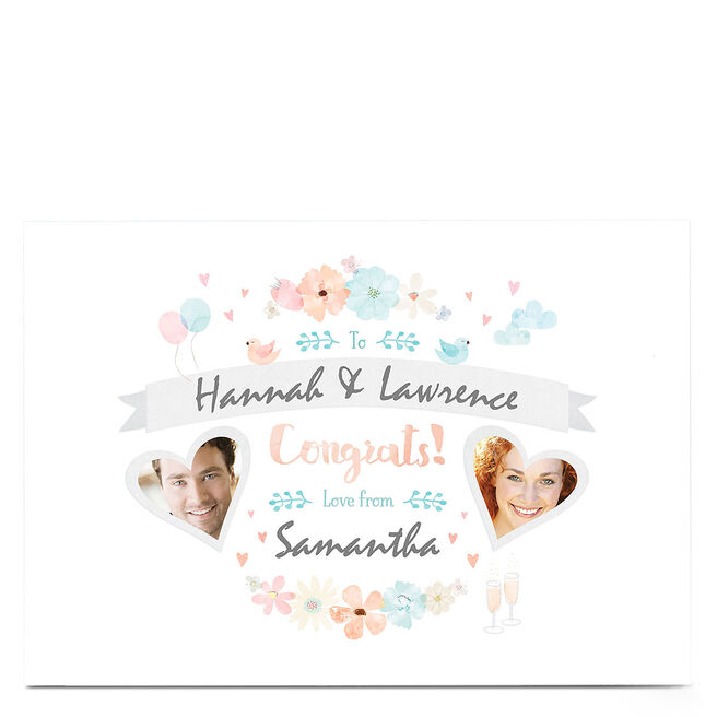 Photo Congratulations Card - Blue & Pink