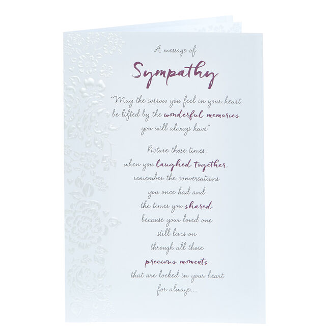 Sympathy Card - Wonderful Memories