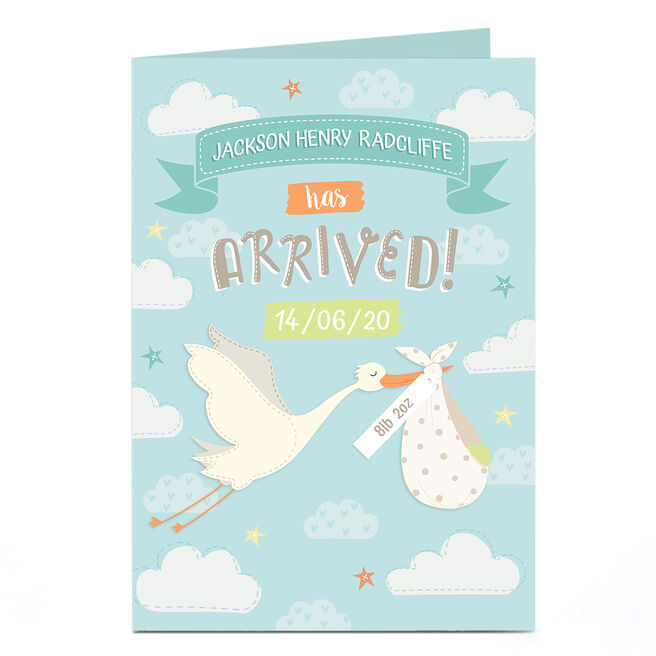 Personalised New Baby Card - Stork with Name