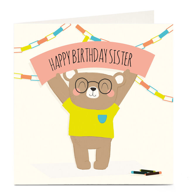Personalised Birthday Card - Bear & Banner, Sister