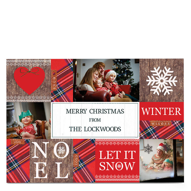 Multi Photo Christmas Card - Let It Snow
