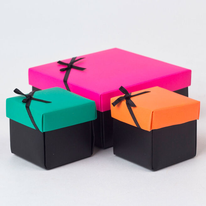 Pink, Orange & Green Gift Boxes, Set of 3