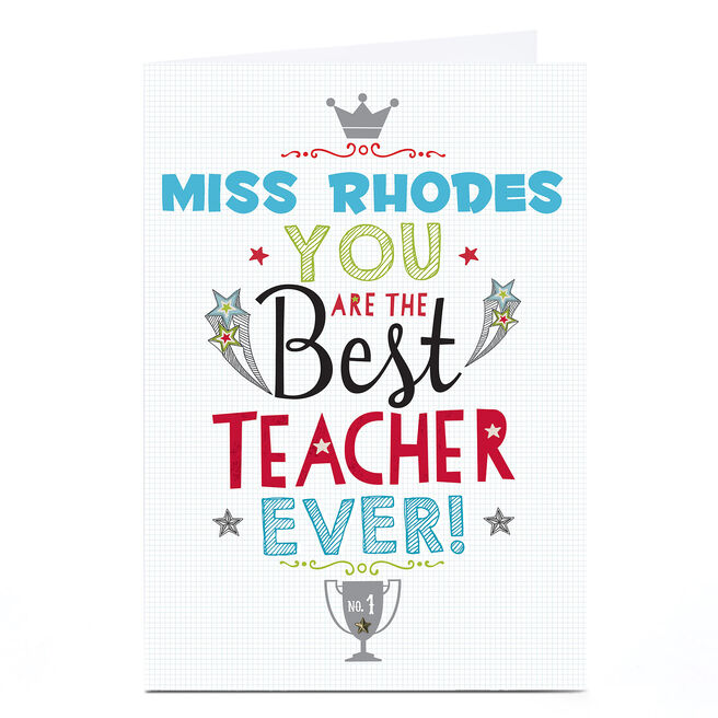 Personalised Thank You Teacher Card - Trophy