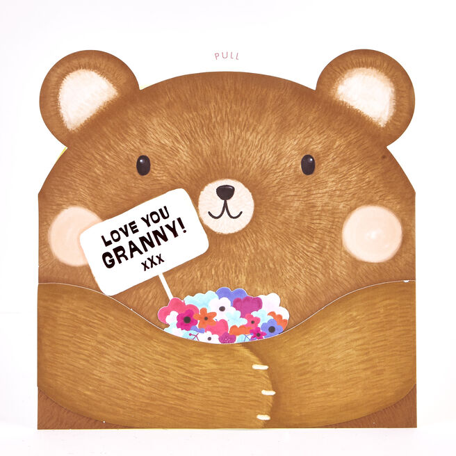 Boutique Collection Birthday Card - Granny Bear Pop-Up