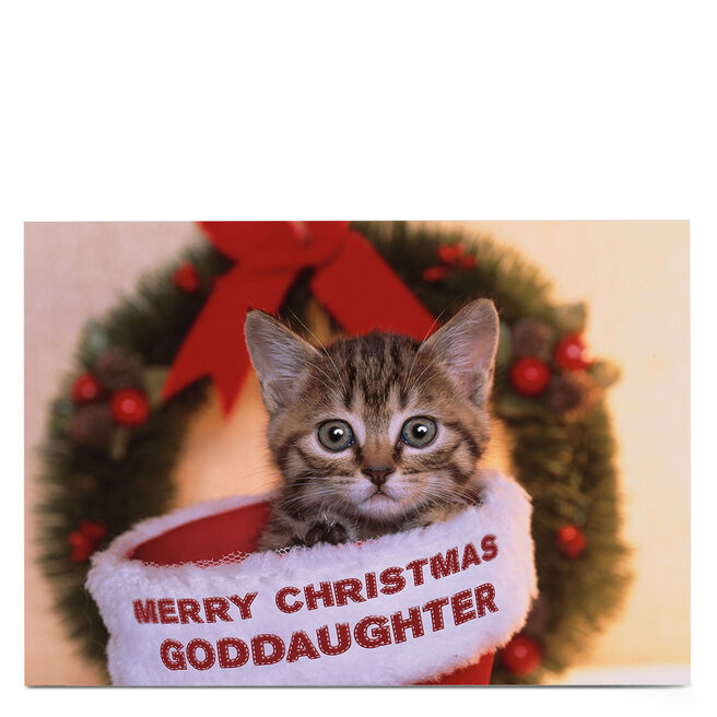 Personalised Christmas Card - Christmas Cat - Goddaughter